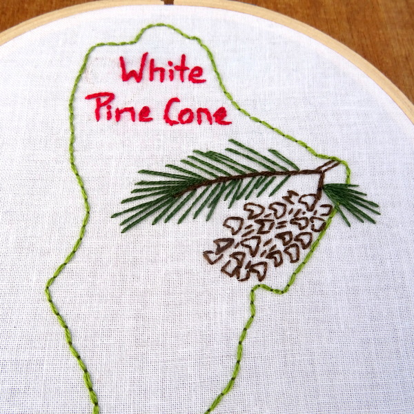 Maine State Flower Embroidery Pattern White Pine Cone Wandering