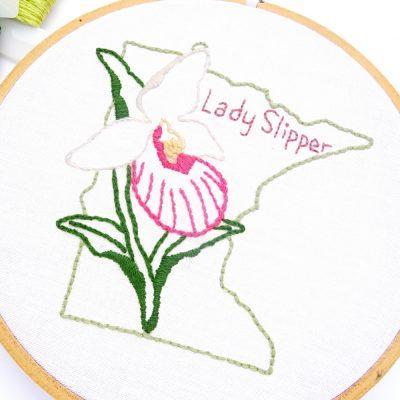 Minnesota Flower Embroidery Pattern {Lady Slipper}
