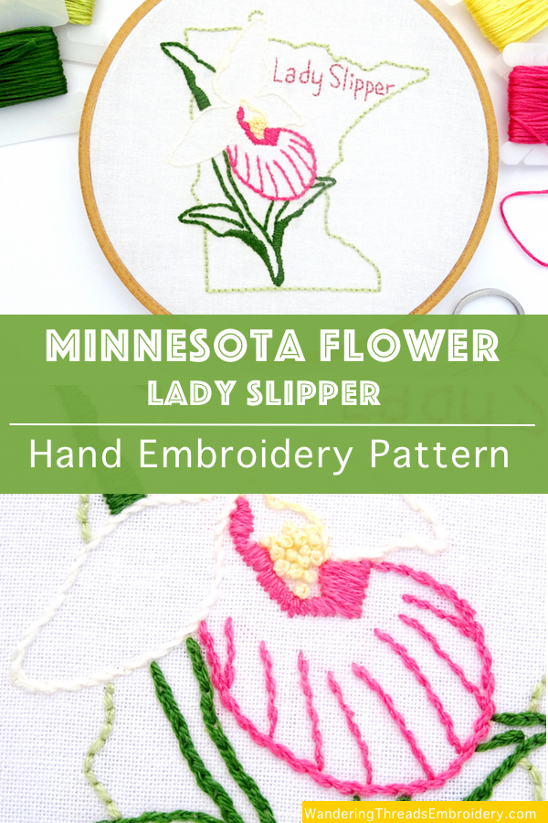 Minnesota Flower Hand Embroidery Pattern Lady Slipper Wandering Threads Embroidery