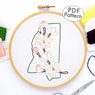Mississippi Flower Hand Embroidery Pattern {Magnolia}