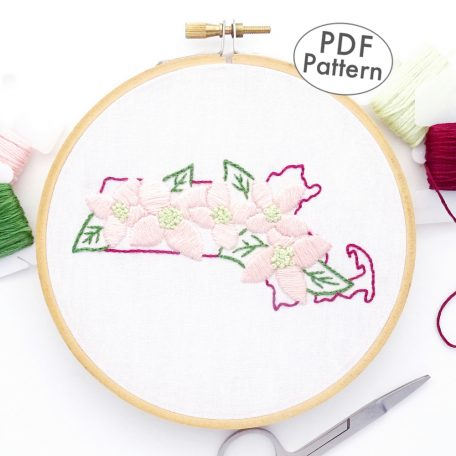 Massachusetts Flower Hand Embroidery Pattern {Mayflower}