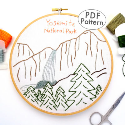 Yosemite National Park Embroidery Pattern