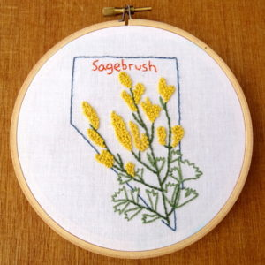 Nevada State Flower Embroidery Pattern {Sagebrush}