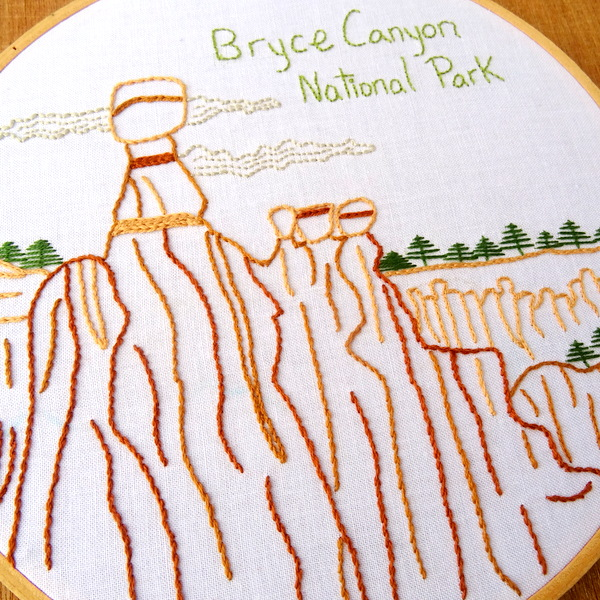 Bryce Canyon National Park Embroidery Pattern