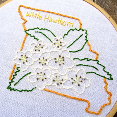 Missouri State Flower Hand Embroidery Pattern {White Hawthorn}