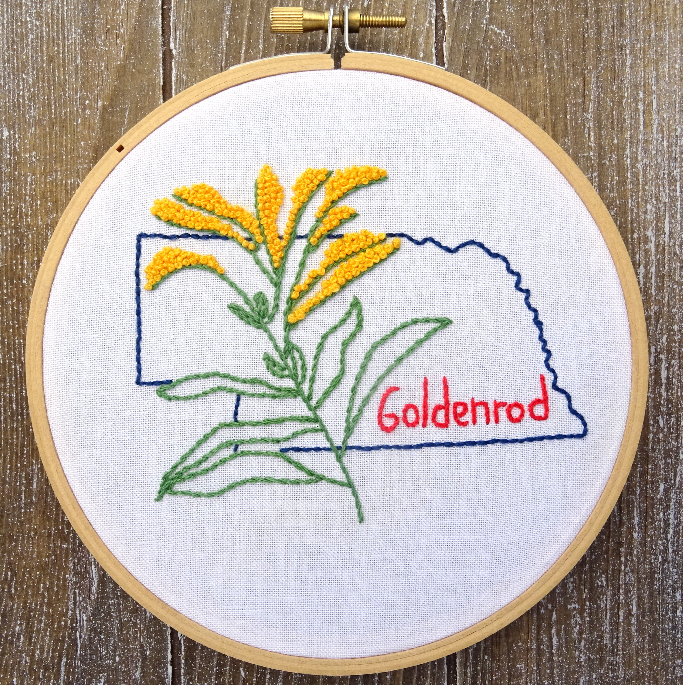 Nebraska State Flower Embroidery Pattern Goldenrod Wandering