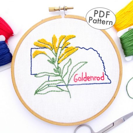 Nebraska Flower Hand Embroidery Pattern {Goldenrod}
