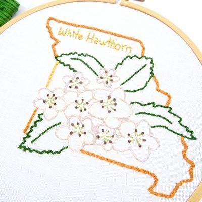 Missouri Flower Hand Embroidery Pattern {White Hawthorn}