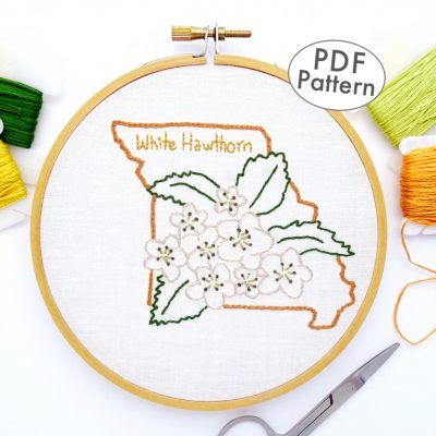 Missouri Flower Hand Embroidery Pattern {White Hawthorn}