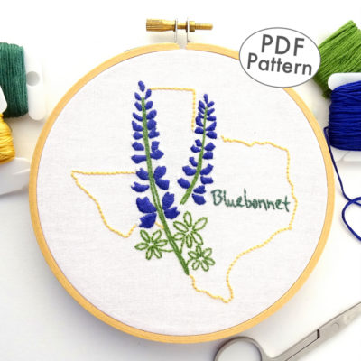 Texas Flower Hand Embroidery Pattern {Bluebonnet}