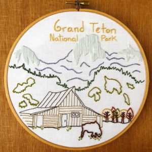 Grand Teton National Park Hand Embroidery Pattern