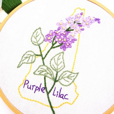New Hampshire Flower Hand Embroidery Pattern {Purple Lilac}