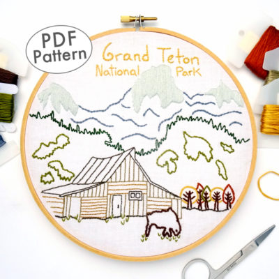 Grand Teton National Park Embroidery Pattern