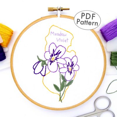 New Jersey Flower Hand Embroidery Pattern {Meadow Violet}