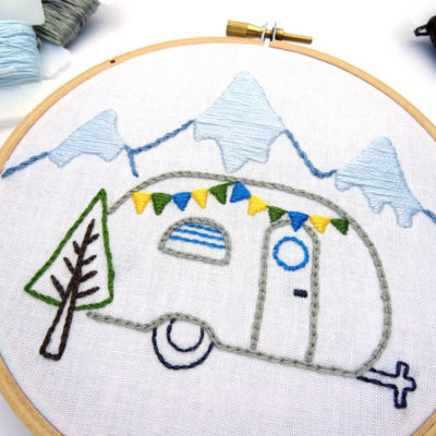 Vintage Trailer Winter Mountains DIY Hand Embroidery Pattern