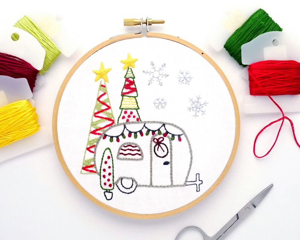 Vintage Trailer Holiday Hand Embroidery Pattern