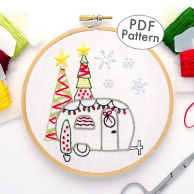 Happy Holidays Vintage Trailer Hand Embroidery Pattern