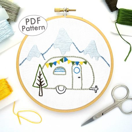 Vintage Trailer Winter Mountains Hand Embroidery Pattern