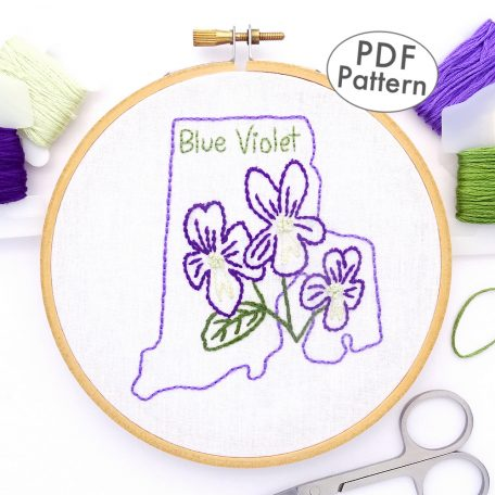 Rhode Island Flower Hand Embroidery Pattern {Blue Violet}