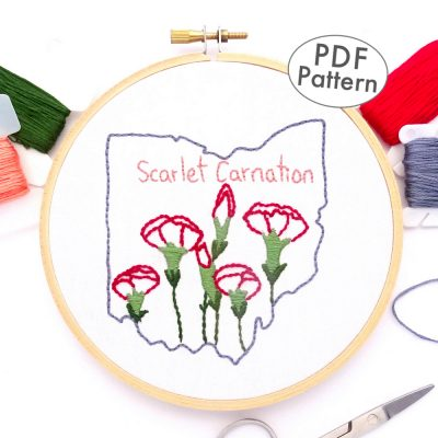 Ohio Flower Hand Embroidery Pattern {Scarlet Carnation}