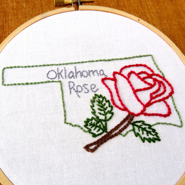 Oklahoma state flower embroidery pattern rose