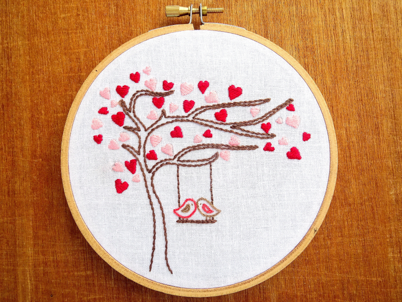 Love Birds Heart Tree Hand Embroidery Pattern