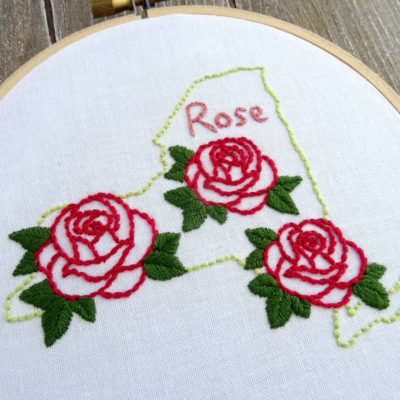 New York State Flower Hand Embroidery Pattern {Red Rose}