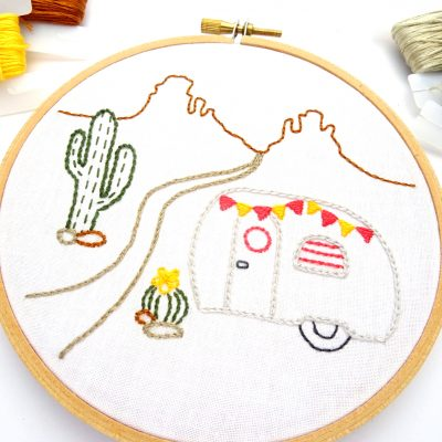 Vintage Trailer in the Desert Hand Embroidery Pattern