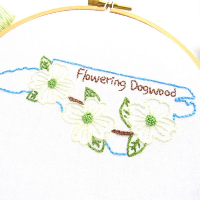 North Carolina State Flower Hand Embroidery Pattern {Flowering Dogwood}