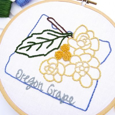 Oregon Flower Hand Embroidery Pattern{Oregon Grape}