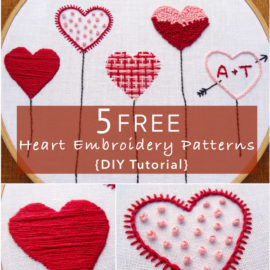 5 FREE Heart Embroidery Patterns {DIY Tutorial}
