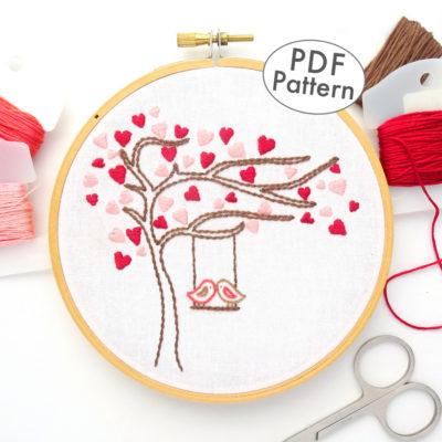 Love Birds Heart Tree Hand Embroidery Pattern