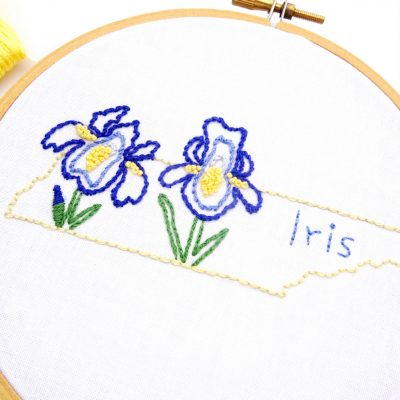 Tennessee Flower Hand Embroidery Pattern {Iris}