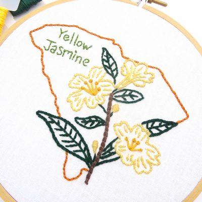 South Carolina Flower Hand Embroidery Pattern {Yellow Jasmine}