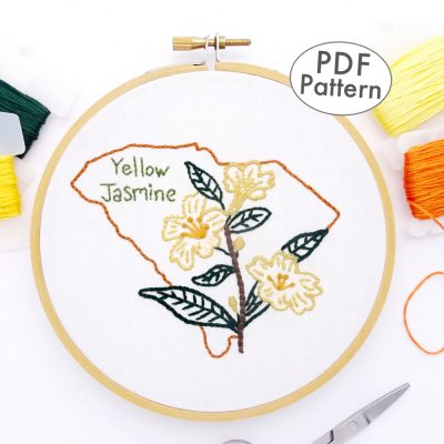 South Carolina Flower Hand Embroidery Pattern {Yellow Jasmine}