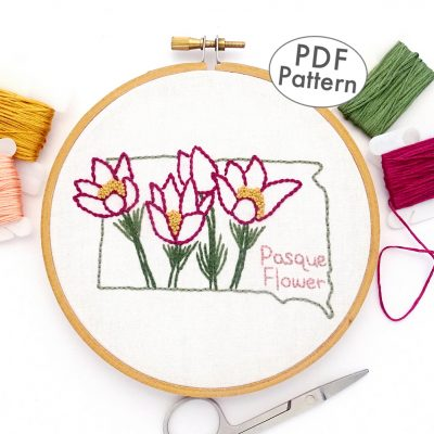 South Dakota Flower Hand Embroidery Pattern {Pasque Flower}