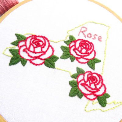 New York State Flower Hand Embroidery Pattern {Rose}