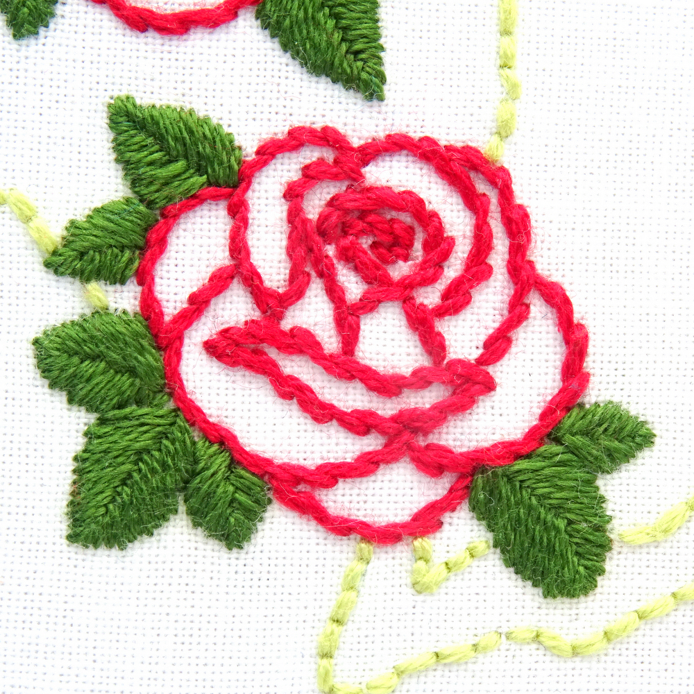 New York Flower Hand Embroidery Pattern Rose