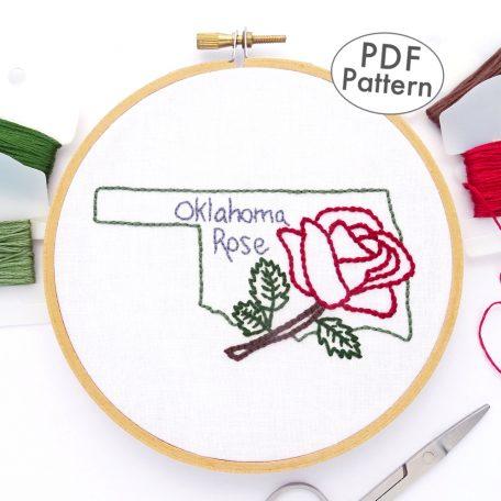 Oklahoma Flower Hand Embroidery Pattern {Oklahoma Rose}