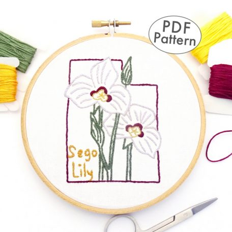 Utah Flower Hand Embroidery Pattern {Sego Lily}