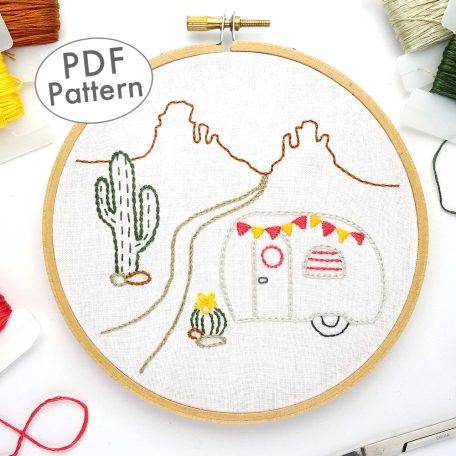 Vintage Trailer Desert DIY Hand Embroidery Pattern