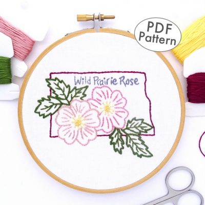 North Dakota Flower Hand Embroidery Pattern {Wild Prairie Rose}