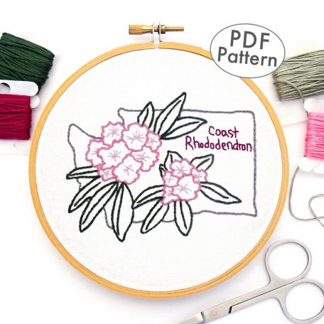 Washington Flower Hand Embroidery Pattern {Coast Rhododendron}