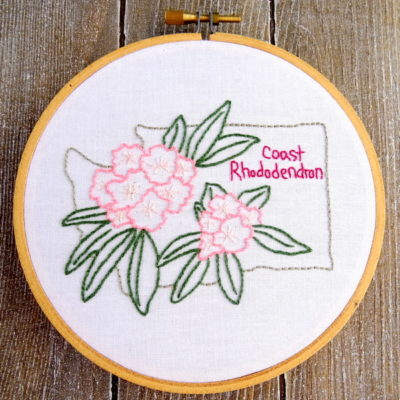 Washington State Flower Hand Embroidery Patten {Coast Rhododendron}