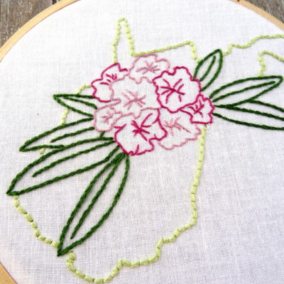 West Virginia Hand Embroidery Pattern {Rhododendron}