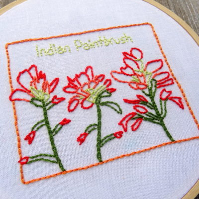 Wyoming State Flower Hand Embroidery Patten {Indian Paintbrush}