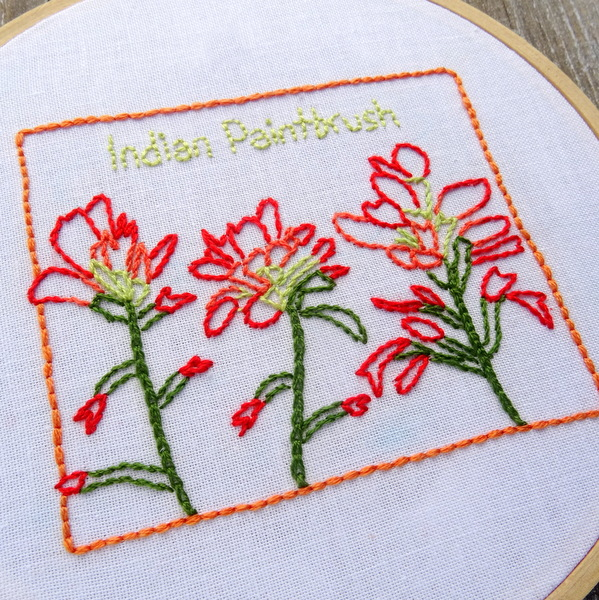 Wyoming State Flower Hand Embroidery Pattern {Indian Paintbrush}