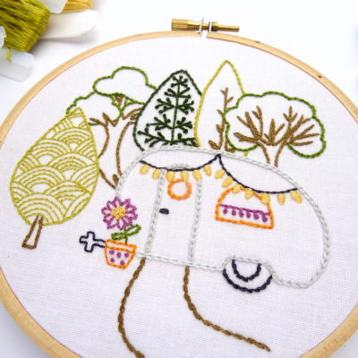 Vintage Trailer Forest DIY Hand Embroidery Pattern