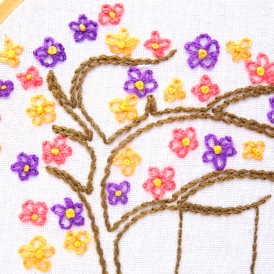 Flower Tree Hand Embroidery Pattern