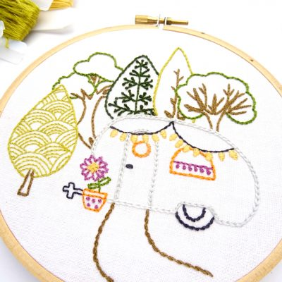 Vintage Trailer in the Forest Hand Embroidery Pattern